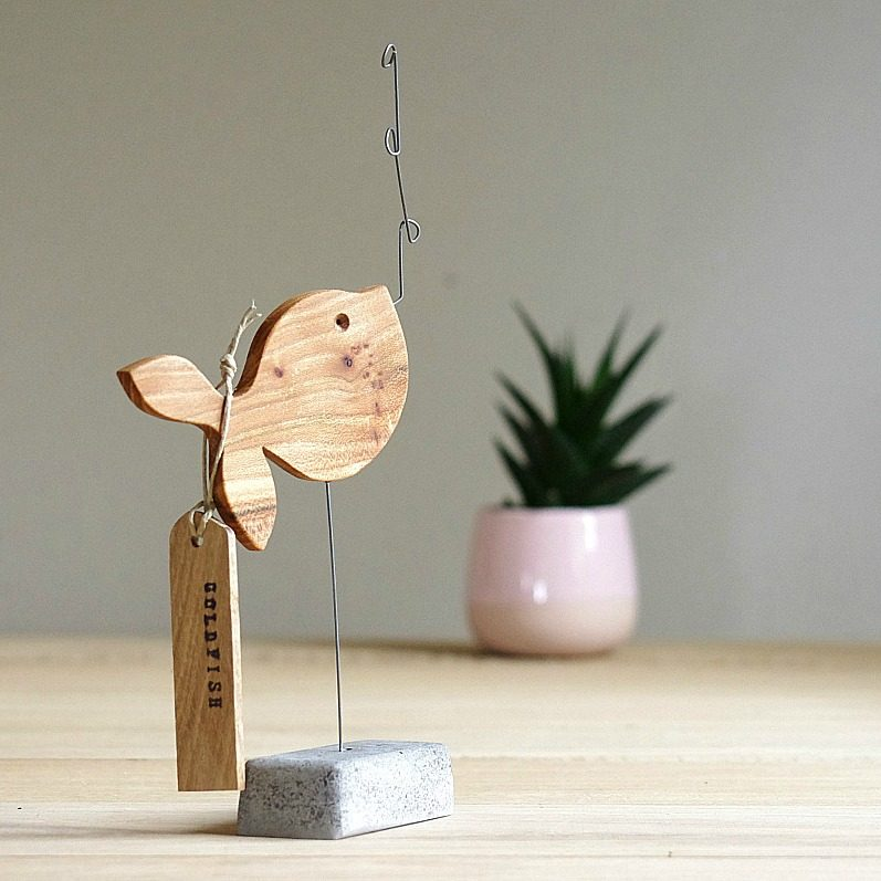 Wood Goldfish Sculpture